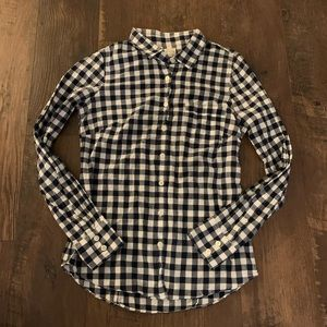 J. Crew navy white gingham long sleeve button down